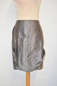Skirt Woman Giorgio Armani Size.40 Effect Pythoned Mixed Silk / Acetato