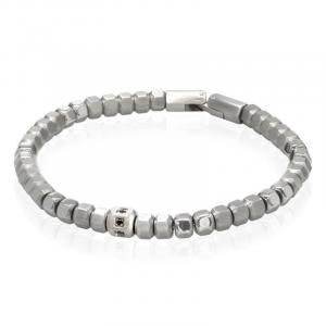 Goyatè - Bracciale Ollie Trick pentagono acciaio silver e zirconi