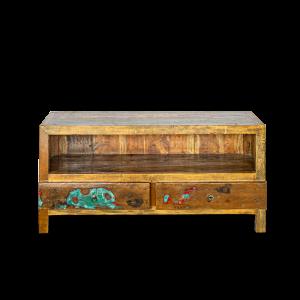 Porta tv in legno di teak indonesiano recuperato dalle vecchie barche con 2 cassetti
