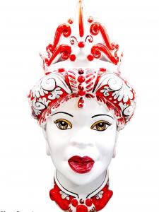 Testa di Donna Con Turbante Rosso e Bianco