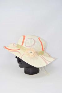 Hat Estivo Woman With Flower Pink Circles Orange