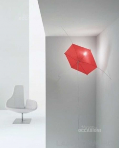 Chandelier From Wall Fabbian Tipula Red Effect Umbrella New