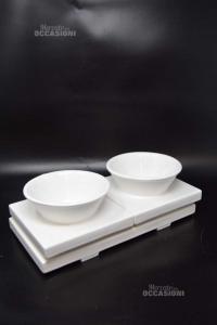Antipastiera Bianca Con Vassoietto In Ceramica
