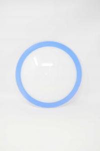Plafoniera In Vetro Bianco Azzurro Nuova Diametro 30 Cm