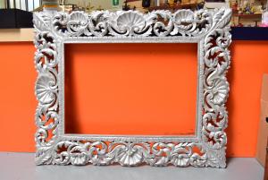Cornice In Legno Lavorato Dimensioni 150 X 120 Cm Colore Argento Spessore 25 Cm