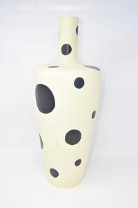 Vaso In Ceramica Bianco Con Pois Neri Altezza 50 Cm