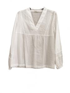 camicia donna bianca   in cotone   scollo a V   made in Italy