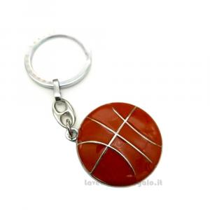 Portachiavi Pallone da Basket in metallo 3.5x3.1 cm - Bomboniera comunione