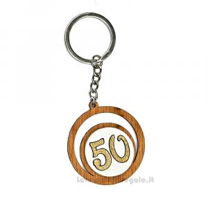 Portachiavi Numero 50 in legno 4.5 cm - Bomboniere 50° anniversario