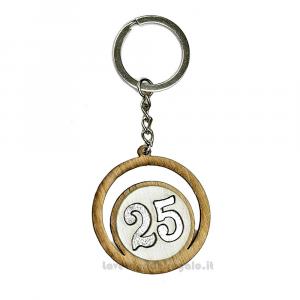 Portachiavi Numero 25 in legno 4.5 cm - Bomboniere 25° anniversario