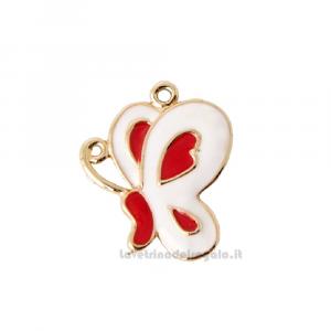 Ciondolo Farfalla Bianca e Rossa in zama 3 cm - Decorazioni matrimonio