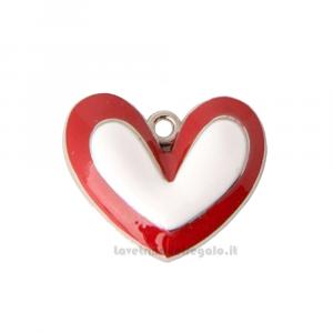 Ciondolo Cuore Bianco e Rosso in zama 3 cm - Decorazioni matrimonio