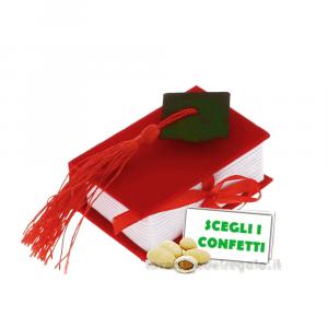 Portaconfetti Libro Rosso con Tocco Nero 8x5.5 cm - Scatole bomboniere laurea