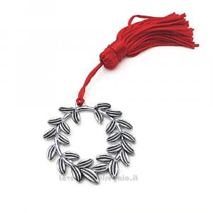 Ciondolo Corona d'Alloro in metallo con nappina rossa 3.9x3.9 cm - Decorazioni laurea