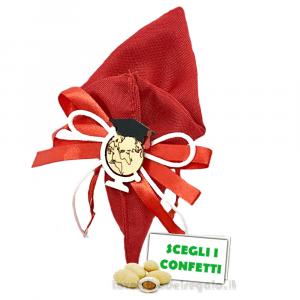 Portaconfetti cono Rosso con mappamondo in legno 18 cm - Sacchetti laurea