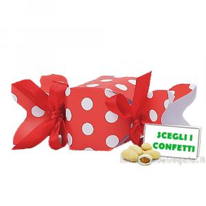 Portaconfetti Caramella Rossa a pois Bianchi 12x4x4 cm - Scatole bomboniera laurea