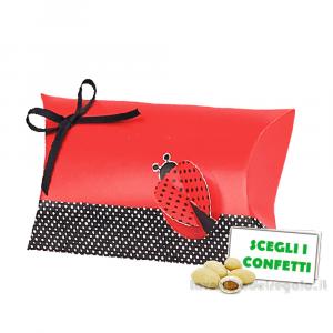 Portaconfetti bustina Rossa e Nera con Coccinella 10x2.5x6 cm - Scatole laurea
