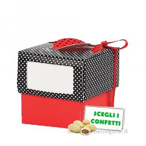 Portaconfetti Rosso e Nero con Coccinella 5x5x5 cm - Scatole laurea
