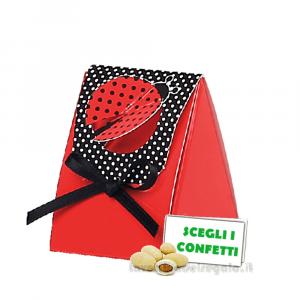Portaconfetti triangolare Rossa e Nera con Coccinella 4x4x5 cm - Scatole laurea