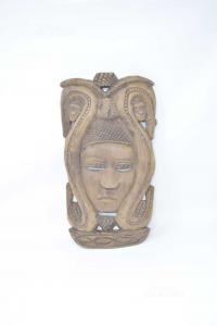 Maschera Indiana In Legno Intagliata A Mano 38x20 Cm