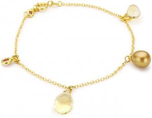 Bracciale donna Morellato Gold. Oro 375, pietre naturali, perla di fiume.