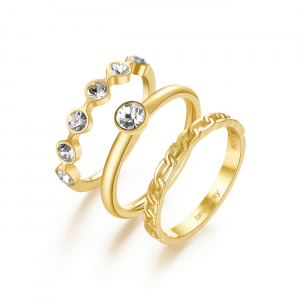 Tris Anelli donna Brosway Symphonia dorati con cristalli bianchi BYM92D
