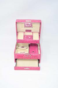 Cofanetto Portagioie In Pelle Vernice Rosa 16x14x10 Cm