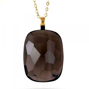 Collana Donna Morellato Gold. Stones Pendente in Oro375 e Quarzo fumè.