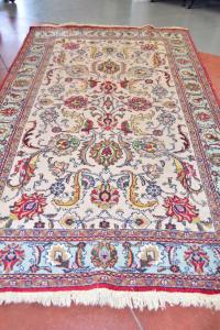 Carpet Persian Tabriz Beige Light Blue With Flowers Red 184x303 Cm
