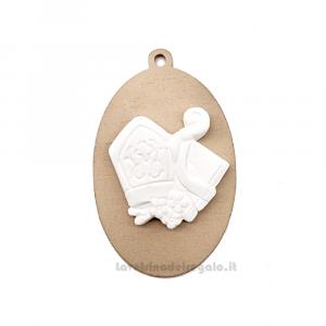 Ciondolo in legno con gessetto Santa Cresima 4 cm - Decorazioni cresima