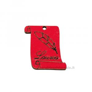 Applicazione pergamena Rossa con piuma e scritta in legno 4 cm - Decorazioni laurea