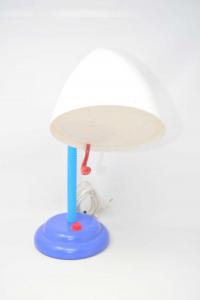 Lampada Da Scrivania Con Base Azzurra E Paralume Bianco