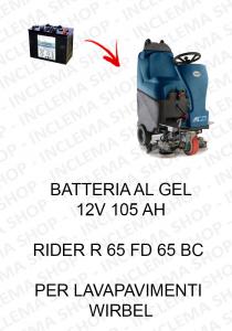 RIDER R 65 FD 65 BC BATTERIA AL GEL 12V 105 Ah per lavapavimenti Wirbel