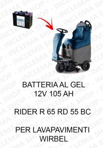 RIDER R 65 RD 55 BC BATTERIA AL GEL 12V 105 Ah per lavapavimenti Wirbel