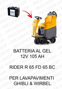 RIDER R 65 FD 65 BC BATTERIA AL GEL 12V 105 Ah per lavapavimenti Ghibli & Wirbel