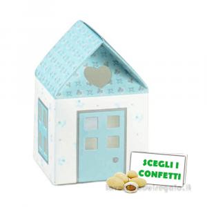 Portaconfetti Casetta Celeste linea Bloom 5x5x8 cm - Scatole battesimo bimbo