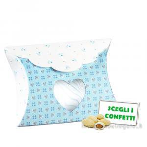Portaconfetti bustina Celeste con cuore linea Bloom 8x3x8.5 cm - Scatole battesimo bimbo