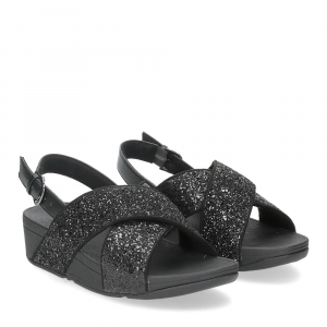 Fitflop Lulu glitter back strap sandals black