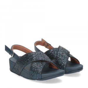 Fitflop Lulu glitter back strap sandals midnight navy