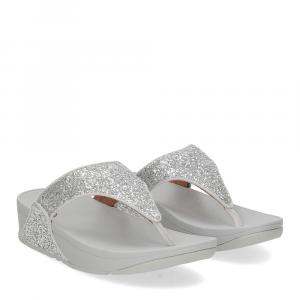 Fitflop Lulu glitter toe thongs silver