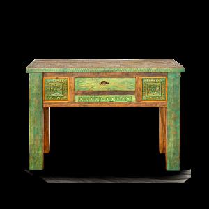 Consolle in legno di teak balinese green con cassetto centrale