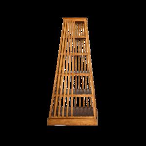 Libreria a forma di piramide in legno di teak balinese