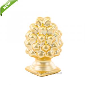Pigna Oro con luce LED in porcellana 7x10.5 cm - Bomboniera matrimonio