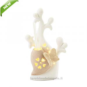 Profumatore Albero Cuore con luce LED in porcellana 9.5x6.5x16.5 cm - Bomboniera matrimonio