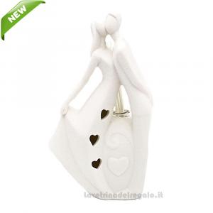 Profumatore Sposi con luce LED in porcellana 10x18 cm - Bomboniera matrimonio