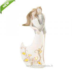 Coppia Sposi con luce LED in porcellana 8x4.5x18 cm - Bomboniera matrimonio