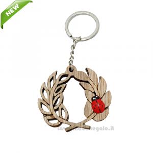 Portachiavi Corona di Alloro con coccinella in legno 4.5 cm - Bomboniera laurea