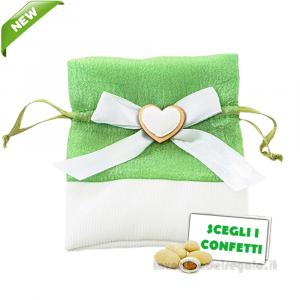Portaconfetti raso Verde con cuore 10x12 cm - Sacchetti bomboniere