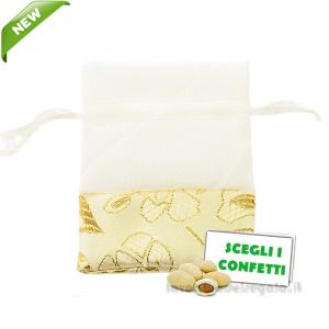 Portaconfetti Bianco con decorazioni Oro 50° Anniversario in cotone 10x12 cm - Sacchetti nozze d'oro