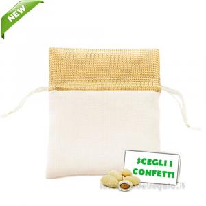 Portaconfetti Oro 50° Anniversario in cotone 10x12 cm - Sacchetti nozze d'oro